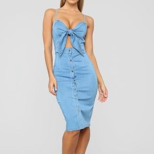 Tie-front denim midi dress